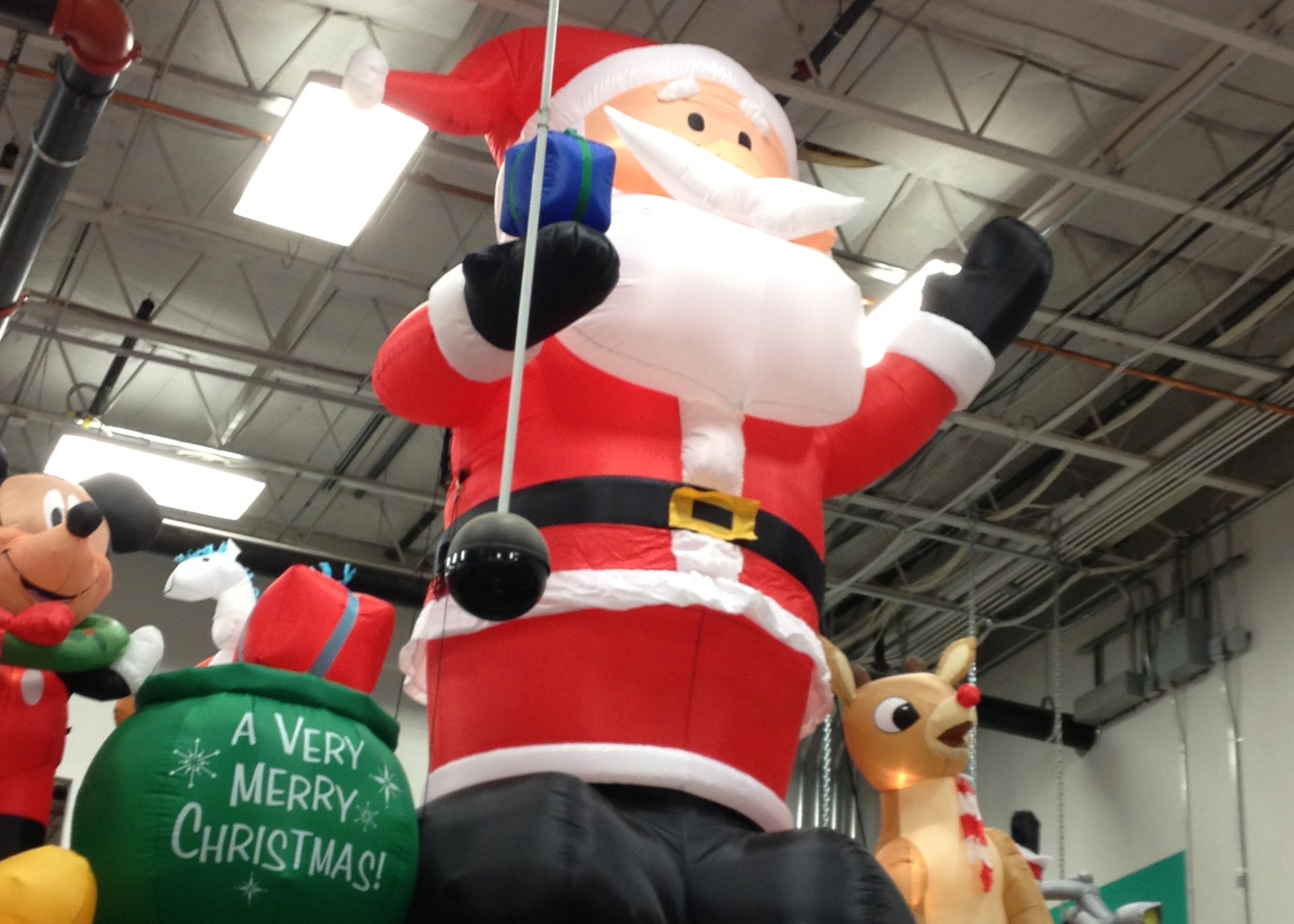 i went to lowes today to check out their christmas decorations and i saw what i think is the biggest inflatable santa ive ever seen its 14 feet tall