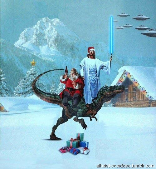 jesus and santa riding a raptor fighting aliens with a lightsaber